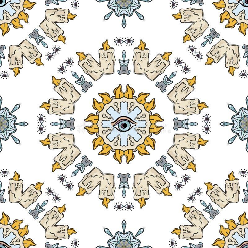 Heilig Esoterisch Kwarts Crystal Candle Magic Naadloze Vectorpatroontekening vector illustratie