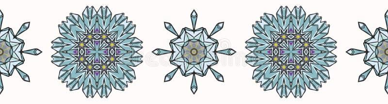 Heilig Esoterisch Kwarts Crystal Magic Hand Getrokken Naadloze Vectorgrens vector illustratie