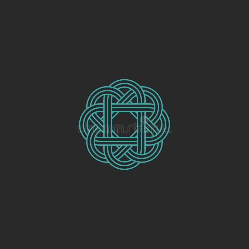 Heilig geometrisch embleem, het turkooise Keltische embleem van de kruisingslijn hipster, het overlappende element van het symmet vector illustratie