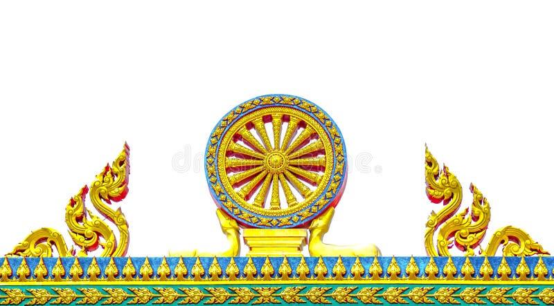 Heilig gouden die patroon van Dhamma-chakkra op witte achtergrond wordt geïsoleerd royalty-vrije stock foto's