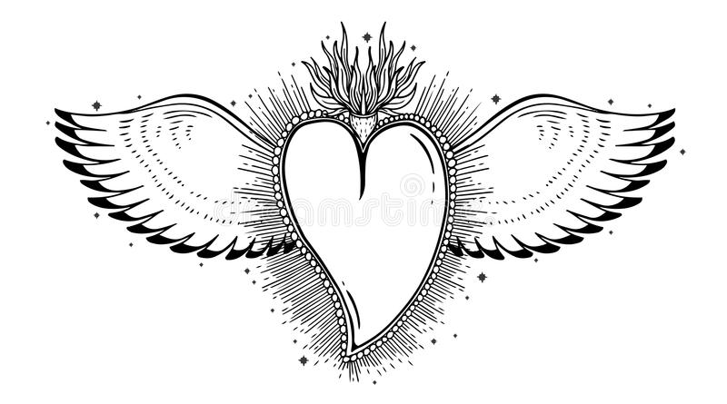 Heilig heilig hart Jesus Het symbool van de sacramentsgodsdienst Mystieke pictogramhand getrokken druk Simbol van Mexico vector illustratie