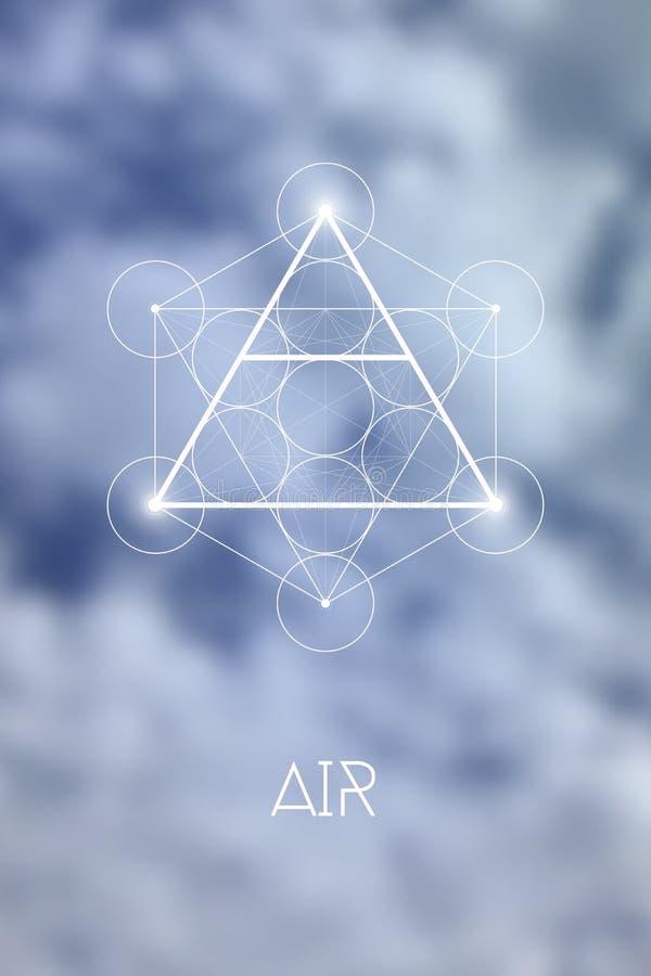 Heilig het elementensymbool van de meetkundelucht binnen Metatron-Kubus en Bloem van het Leven voor natuurlijke onscherpe achterg vector illustratie
