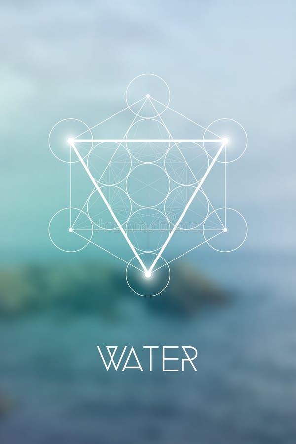 Heilig het elementensymbool van het meetkundewater binnen Metatron-Kubus en Bloem van het Leven voor natuurlijke onscherpe achter vector illustratie