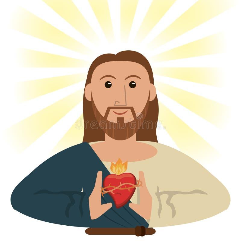 Heilig het hart geestelijk symbool van Jesus-Christus royalty-vrije illustratie