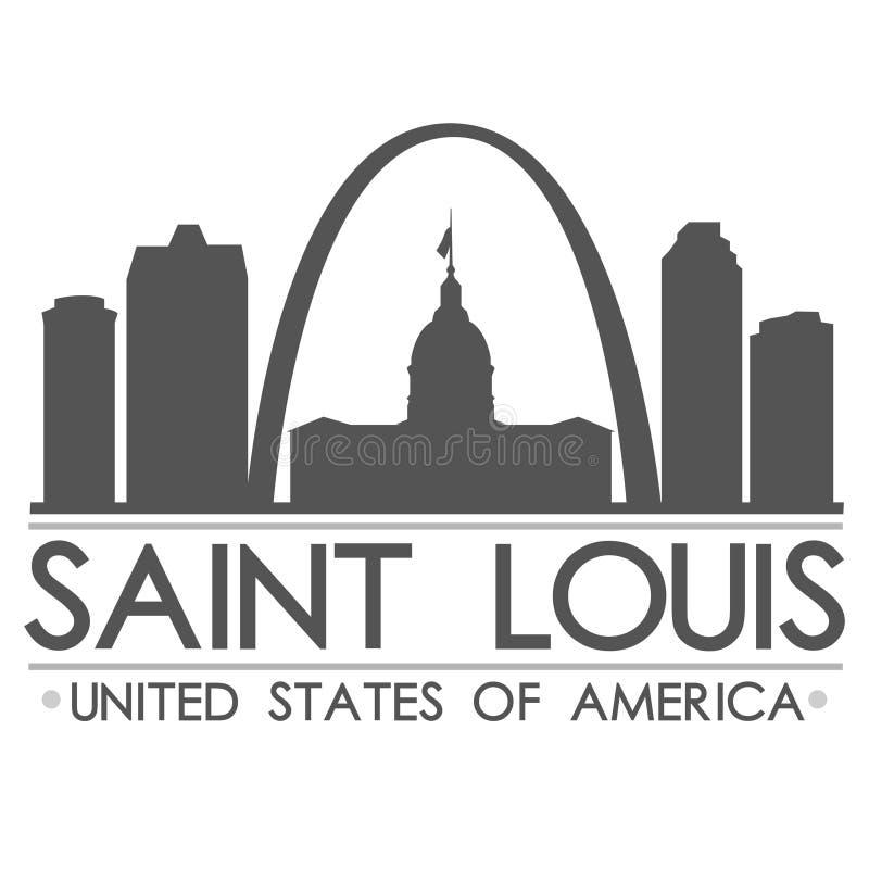 Heilig-Louis Skyline Silhouette Design City-Vektor-Kunst vektor abbildung