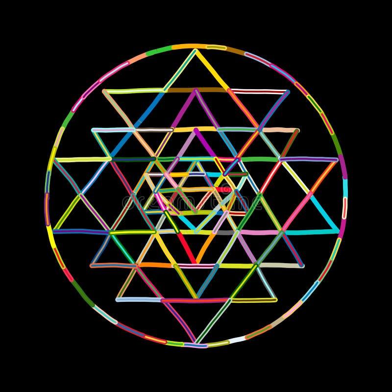 Heilig meetkunde en alchimiesymbool Sri Yantra Hand getrokken schets voor uw ontwerp royalty-vrije illustratie