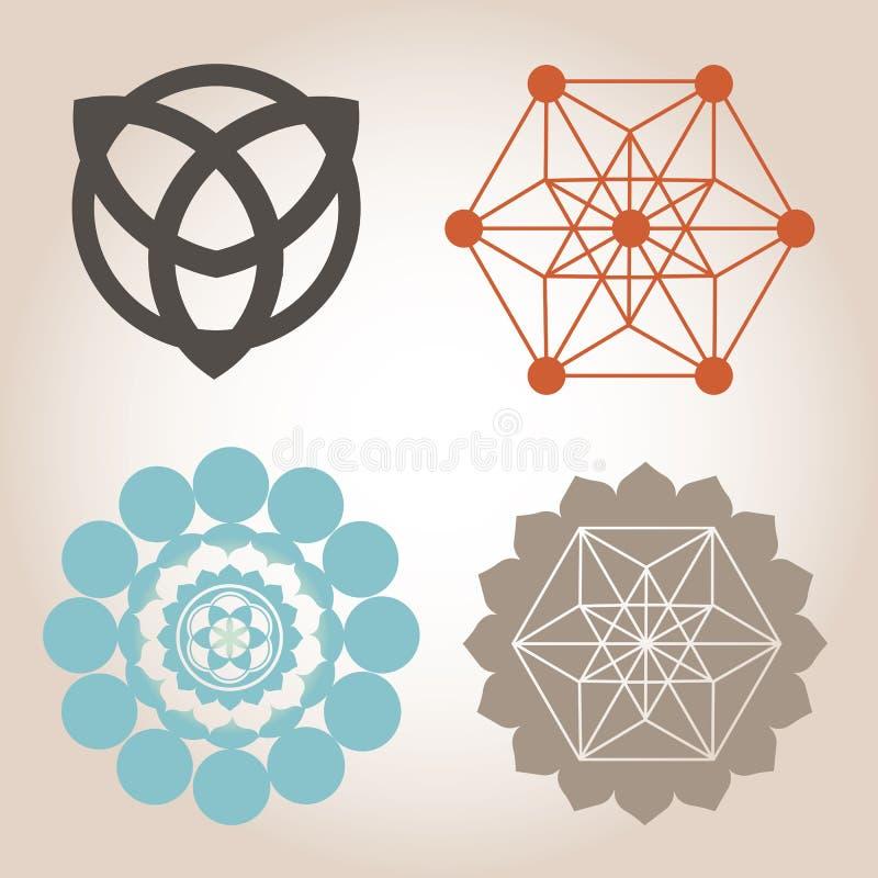 Geometrische ontwerpen met sacral betekenis vector illustratie