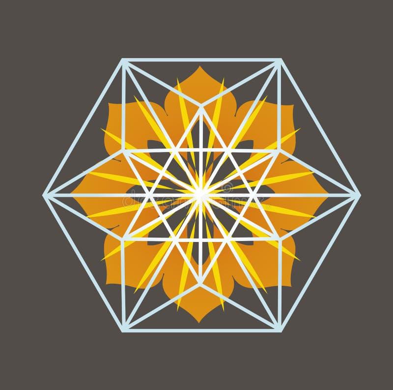 Het bloemenontwerp van de Tetrageder van de ster stock illustratie