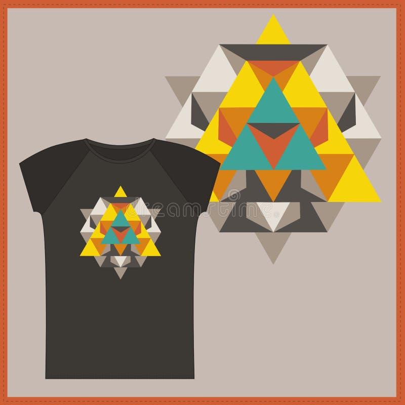 T-shirt met het ontwerp van de Tetrageder van de Ster vector illustratie