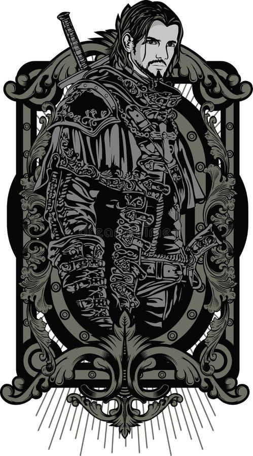 Heilig meetkundeontwerp met Dragon Hunter zoals modellerend stock illustratie