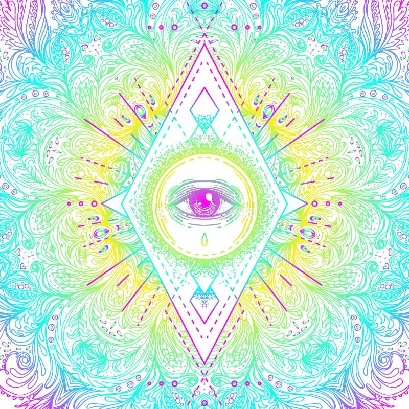Heilig meetkundesymbool met allen die oog in zure kleuren zien Mysti royalty-vrije illustratie