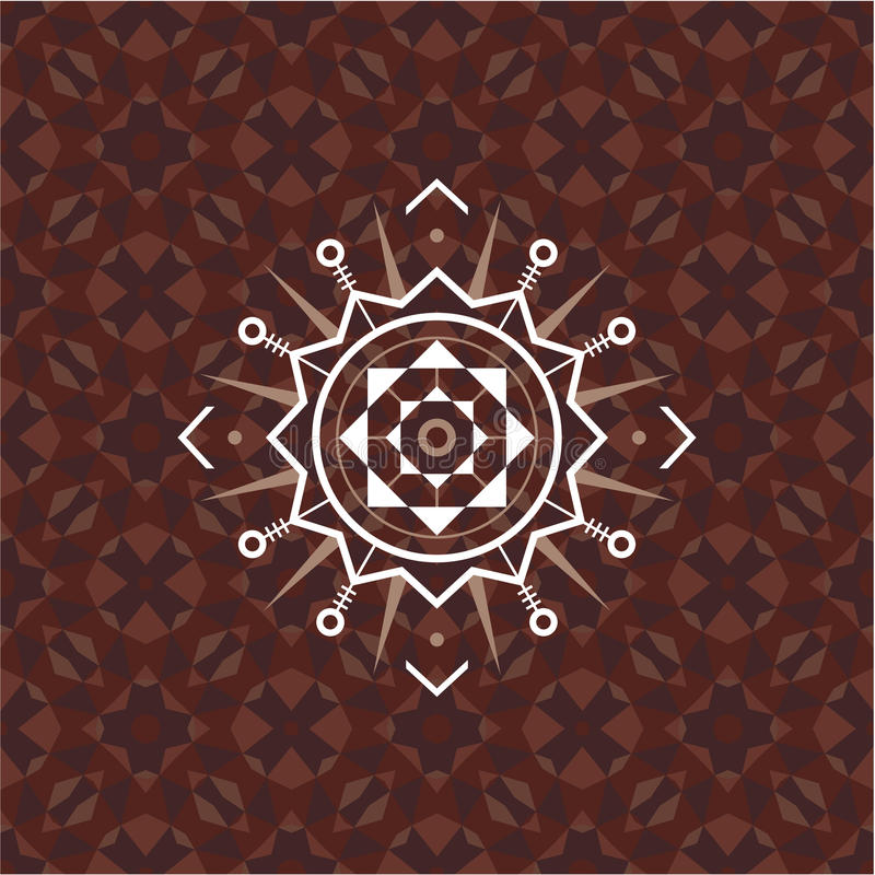 Heilig meetkundeteken op geometrische abstracte achtergrond Abstract vectorpatroon Mysticuskenteken Het element van het ontwerp royalty-vrije illustratie