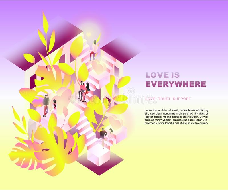 Heilig-Valentinsgruß ` s Tag Liebe verhältnis Isometrische Abbildung vektor abbildung
