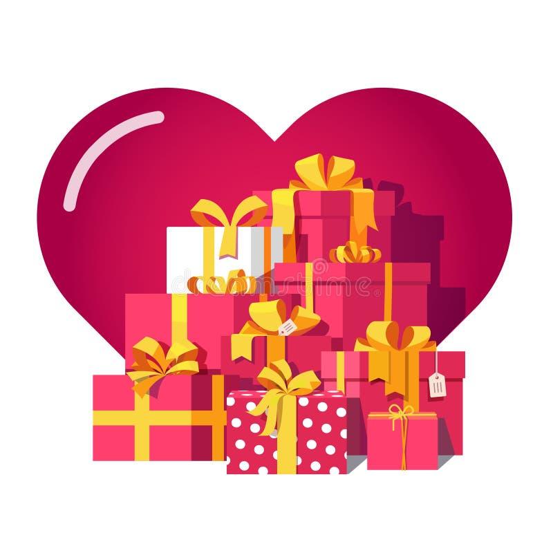 Heilig-Valentinsgrußtagesrotgeschenkboxen lizenzfreie abbildung