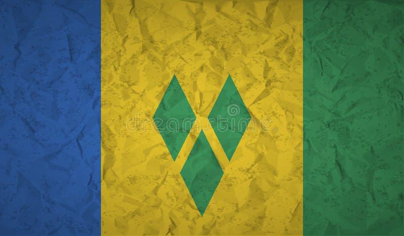 Heilig-Vincent-Flagge mit dem Effekt des zerknitterten Papiers und des Schmutzes stock abbildung