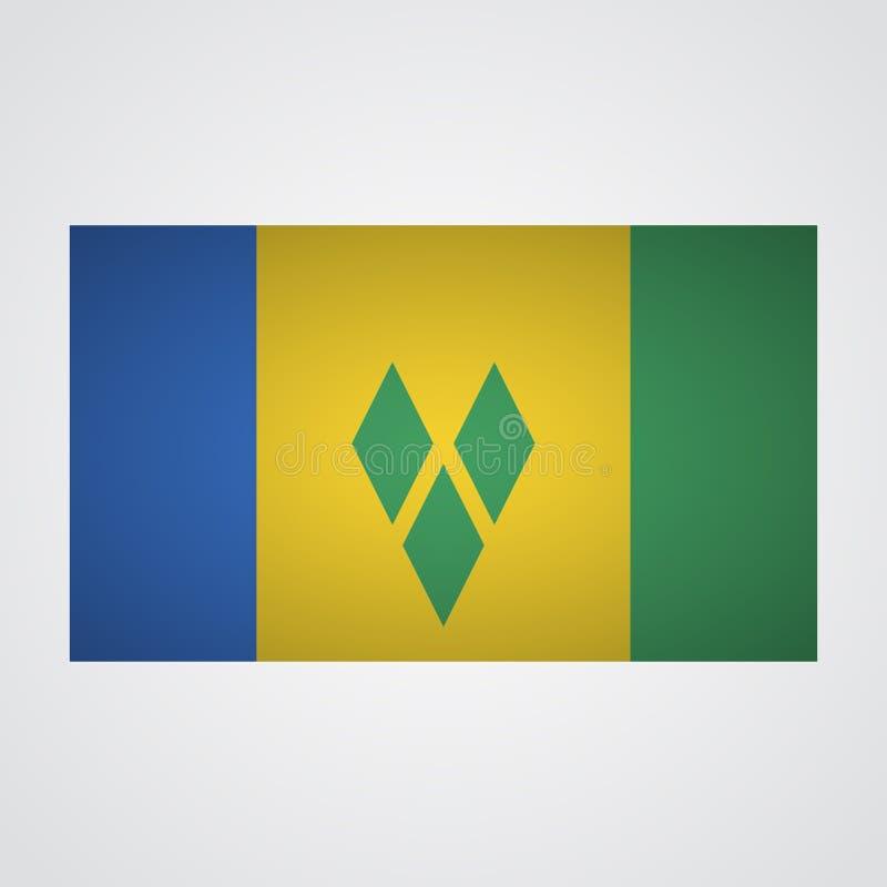 Heilig-Vincent-Flaggenflagge auf einem grauen Hintergrund Auch im corel abgehobenen Betrag lizenzfreie abbildung