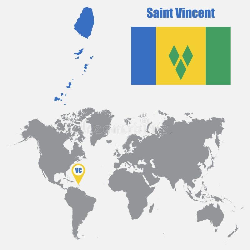 Heilig-Vincent-Karte auf einer Weltkarte mit Flaggen- und Kartenzeiger Auch im corel abgehobenen Betrag lizenzfreie abbildung