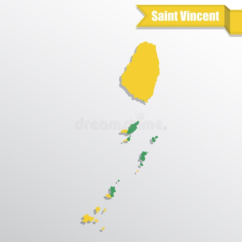 Heilig-Vincent-Karte mit Flaggeninnere und -band stock abbildung