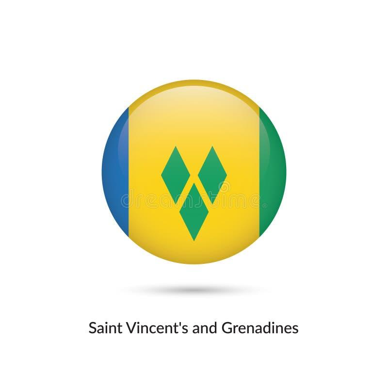 Heilig-Vincent-` s und Grenadinenflagge - runder glatter Knopf vektor abbildung