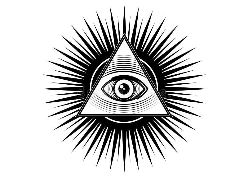 Heilig Vrijmetselaars- symbool Allen die oog, het derde oog zien het Oog van Voorzienigheid binnen driehoekspiramide De nieuwe Or royalty-vrije illustratie