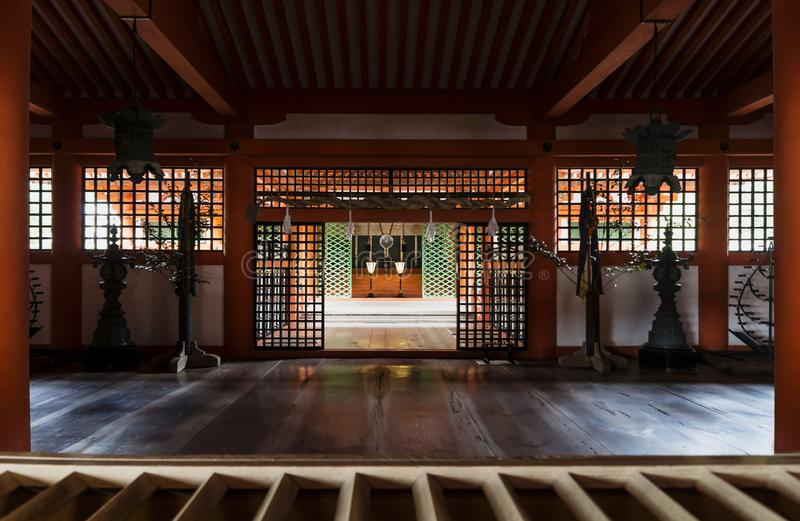 Heiligdom in Itsukushima, Miyajima, Japan stock afbeeldingen