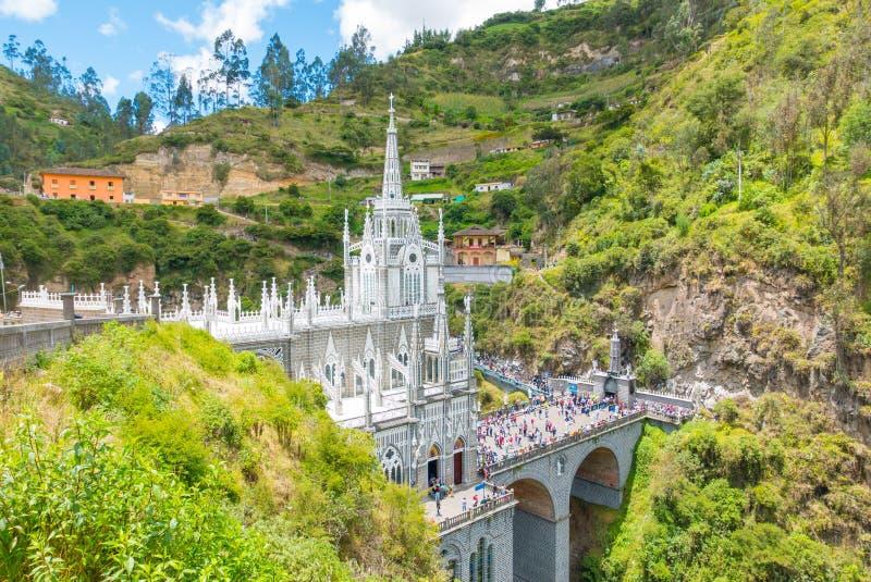 Heiligdom van de zijmening van Las Lajas Ipiales Colombia royalty-vrije stock afbeelding