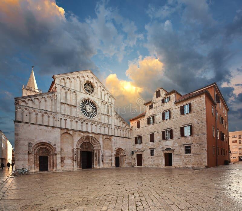 Heilige Anastasia Cathedral. Zadar. stock foto's