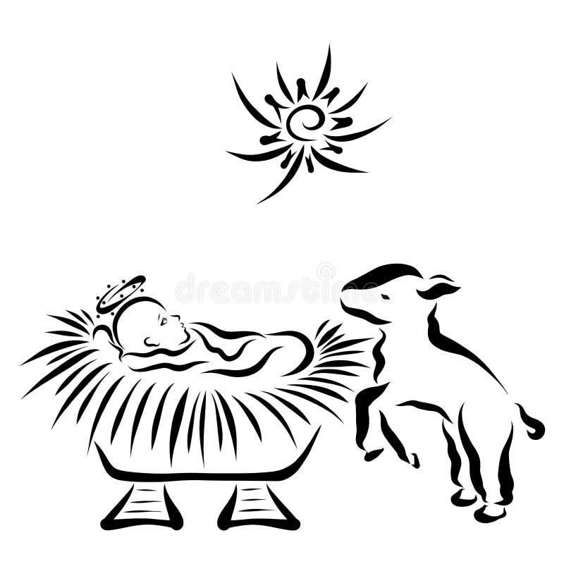 Heilige baby Jesus in de trog en het vrolijke lam, ster royalty-vrije illustratie