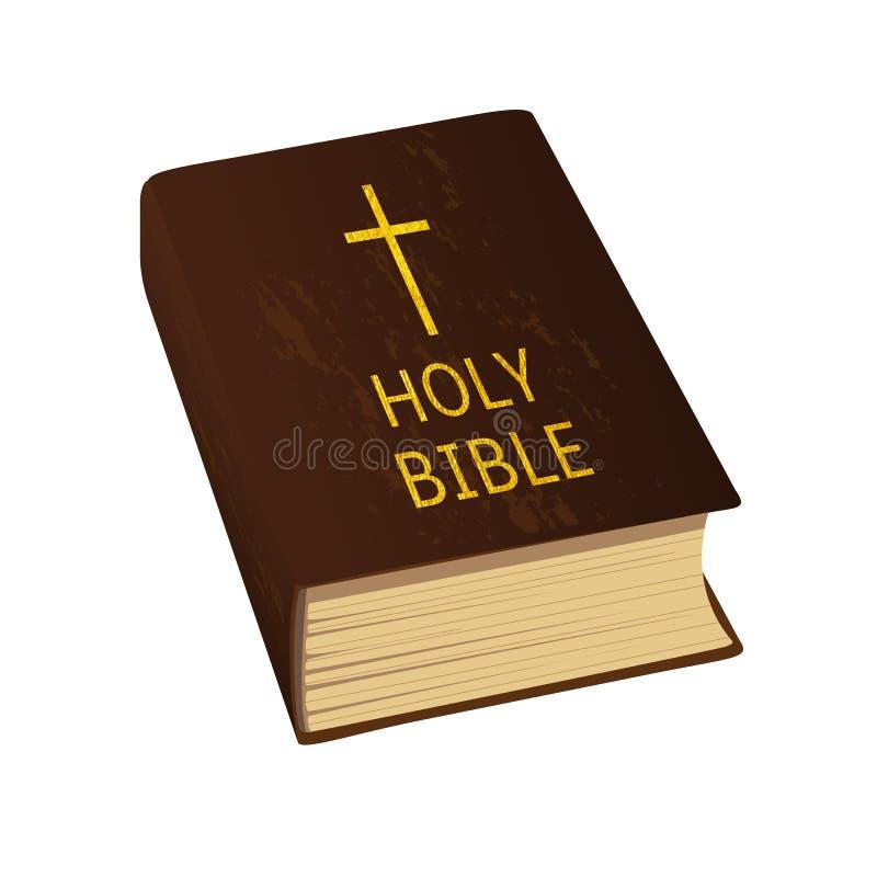 Heilige Bibel Auch im corel abgehobenen Betrag Fester Einband, goldenes Kreuz und Buchstaben vektor abbildung