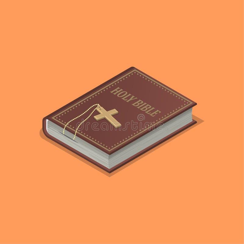 Heilige Bibel mit einem Kreuz lizenzfreie abbildung