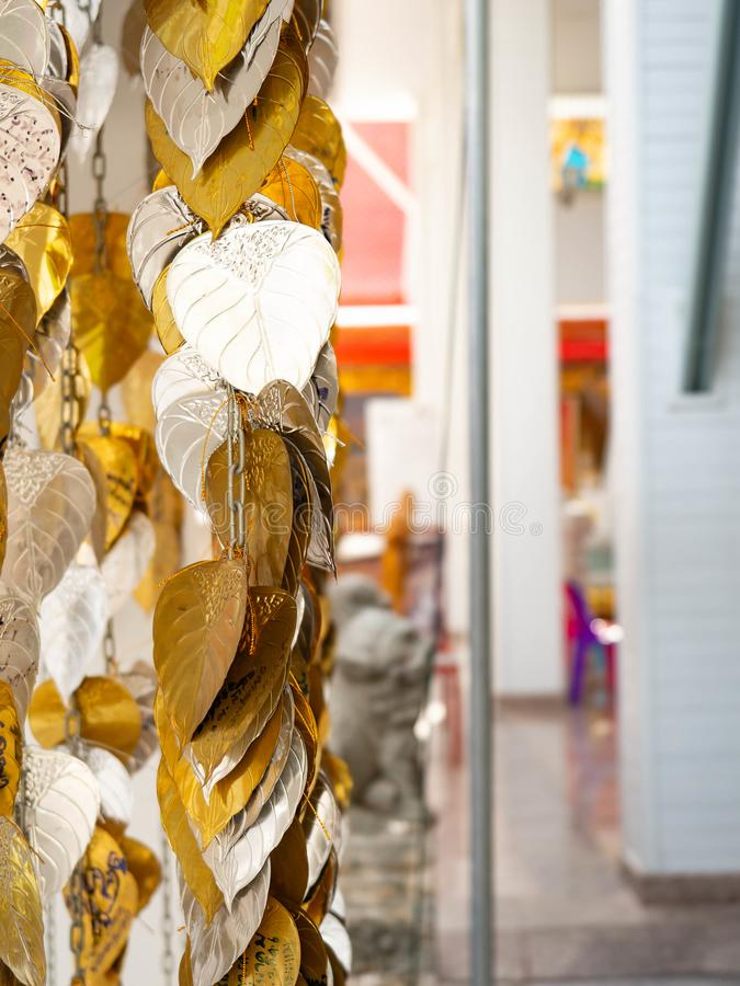 Heilige boom van het Bodhi de gouden en zilveren blad voor Boeddhistische Hindus royalty-vrije stock foto