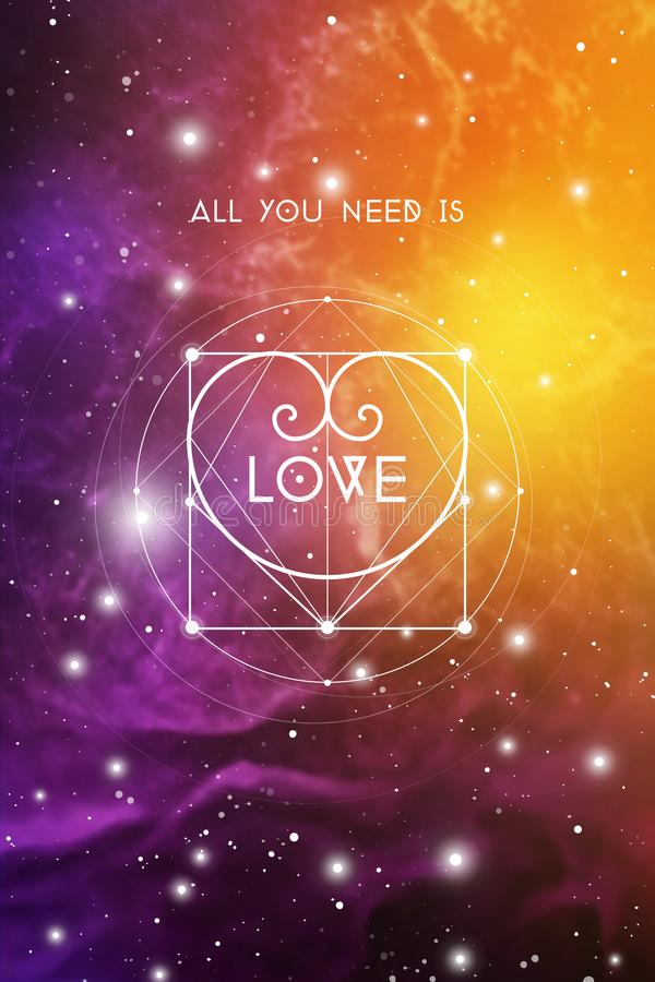 Heilige de groetkaart van meetkunde esoterische Valentine met het geometrische hart van de hipsterstijl op kleurrijke kosmosachte royalty-vrije illustratie