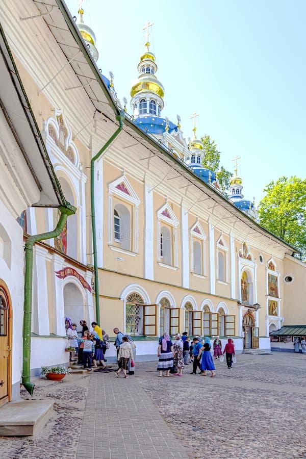 Heilige Dormition Pskovo-Pechersky Kloster Pskov-Höhlen Kloster Tempelkomplex lizenzfreies stockfoto