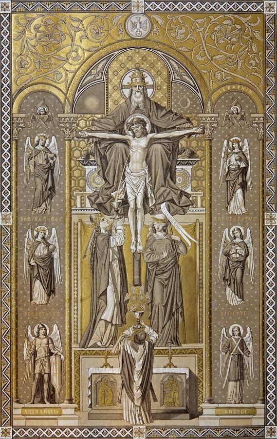Heilige Dreifaltigkeit - Missale romanum 1927 stockfotos