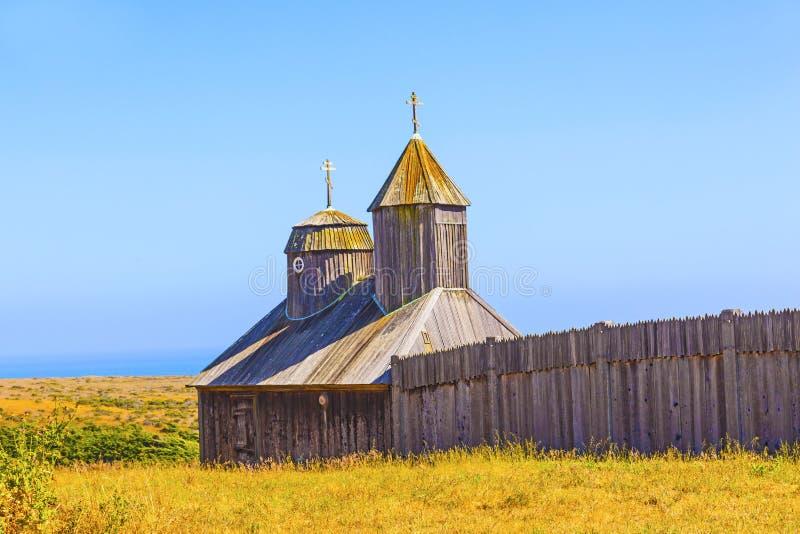 Heilige Drievuldigheid St. Nicholas Chapel bij Fort Ross stock afbeeldingen