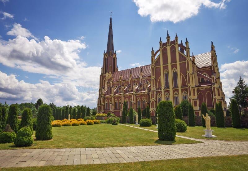 Heilige Drievuldigheids katholieke kerk, Gervyaty-dorp, Wit-Rusland royalty-vrije stock afbeelding