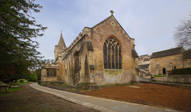 Heilige Drievuldigheidskerk en Saksische Kerk Bradford op Avon stock foto
