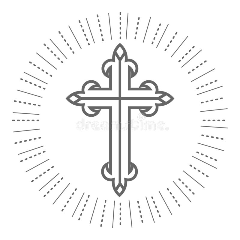 Heilige Dwars Christelijke en Orthodoxe Illustratie op Witte Achtergrond royalty-vrije illustratie