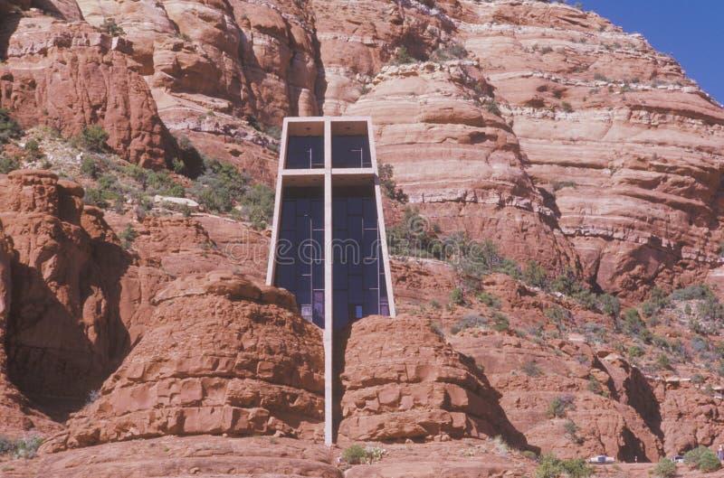 Heilige Dwars Katholieke die Kapel, door Frank L wordt geïnspireerd Wright in Sedona Arizona royalty-vrije stock foto