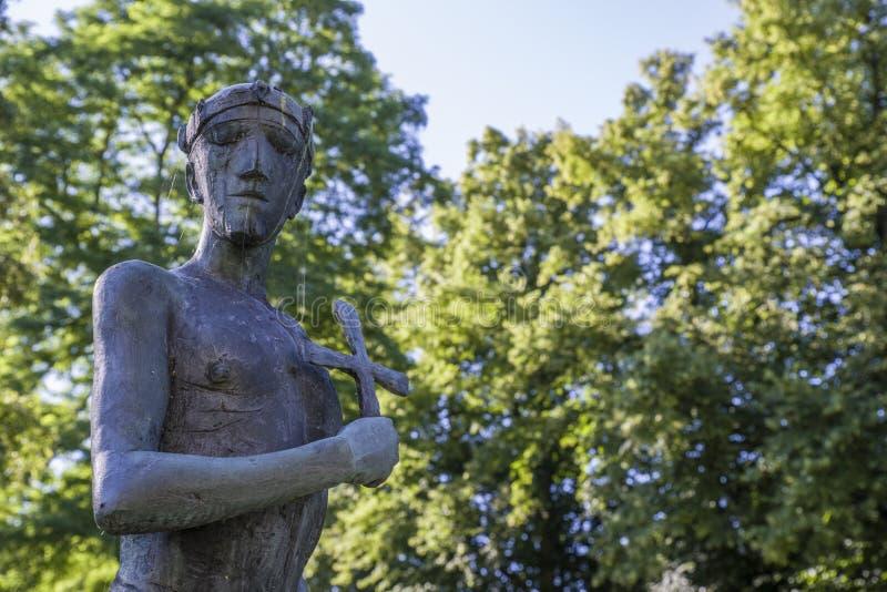 Heilige Edmund Sculpture begraaft binnen St Edmunds royalty-vrije stock afbeeldingen