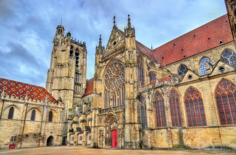 Heilige Etienne Cathedral in Sens - Frankrijk stock foto's