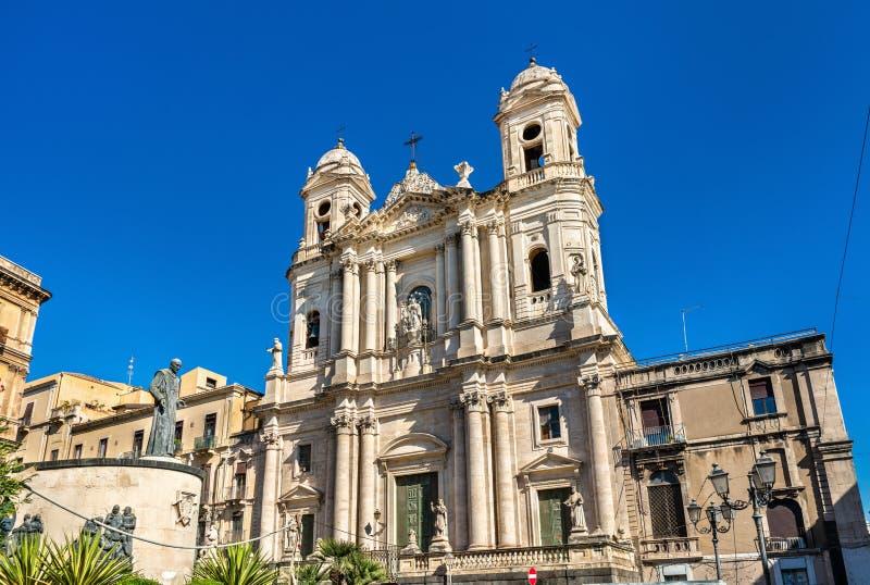 Heilige Francis Church in Catanië, Sicilië stock foto's