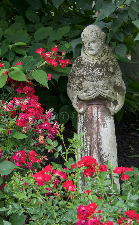 Heilige Francis Statue Among Roses stock foto