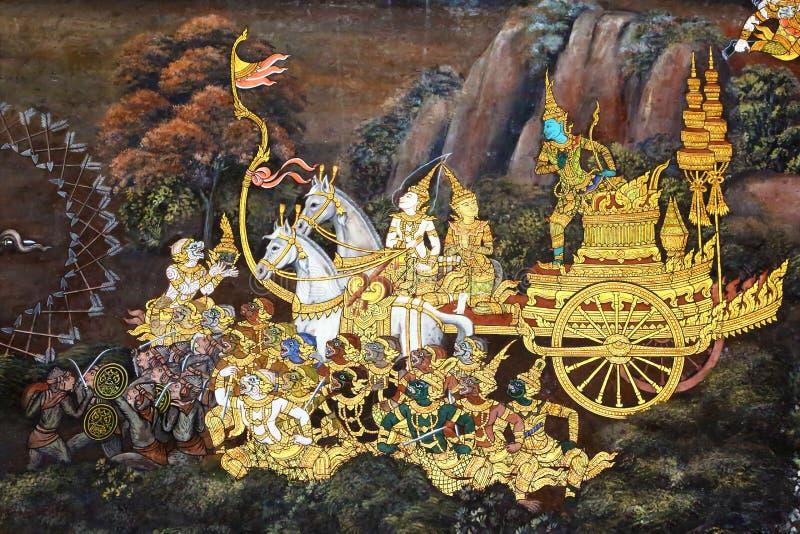 Heilige fresko in Groot Paleis van Bangkok stock fotografie