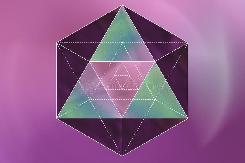 Heilige Geometrie auf einem rosa Hintergrund lizenzfreie abbildung