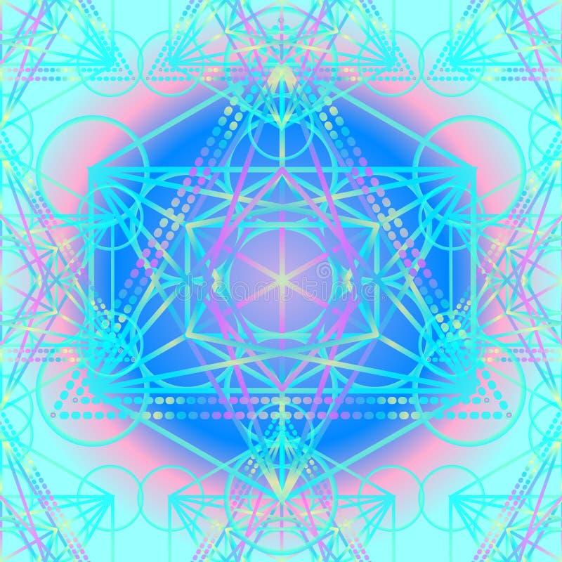 Heilige Geometrie-Symbole im nahtlosen Muster der Mandala Weinlese Dezember stock abbildung