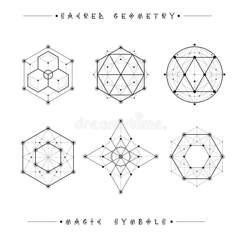 Heilige Geometriezeichen Satz Symbole und Elemente stock abbildung