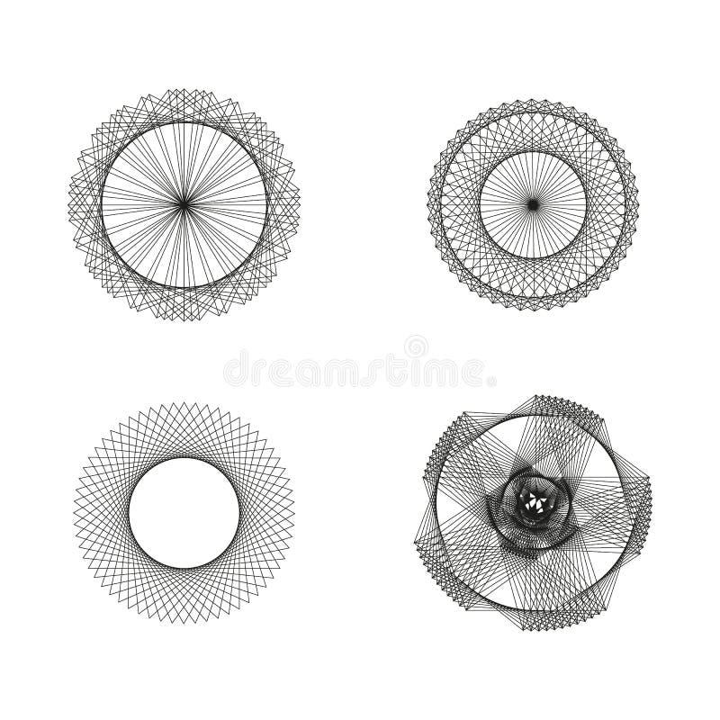 Heilige geometrische Zahlen des Zusammenfassungsvektors, geistige Symbole Lineare Konturnikonen der heiligen Geometrie Kreisforme stock abbildung