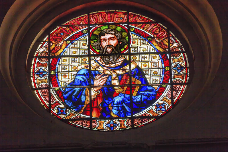 Heilige Gregory Stained Glass Basilica Cathedral Andalusia Granada stock afbeeldingen