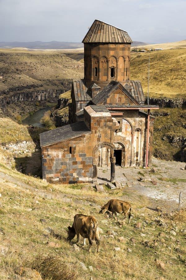 Heilige Gregory van Tigran Honents in Ani-ruïnes stock foto's